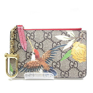 Gucci Gg Supreme Coin Case Beige 424898 Bird Floral Pattern