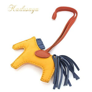 Hermes Leather Charm Rodeo Pm Grigri Joan Of Doll × Blue Agat Carnelian Bag Horse 064929 Caaw