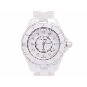 中古 シャネル J12 33mm H1628 12Pダイヤ 白セラミック ギャラ クオーツ メンズ レディース 腕時計 CHANEL◇