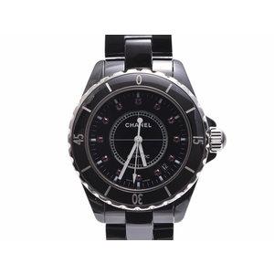 Second-hand Chanel J12 38mm H1635 Black Ceramic Letter Board 12p Ruby Galla Self-winding Wristwatch Men's ◇