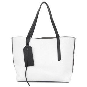 Genuine Jimmy Choo Chew Twist Leather Tote Bag Bicolor White × Black