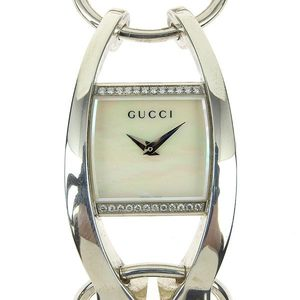 Genuine Gucci Chrono Shell Diamond Bezel Ladies Quartz Wrist Watch Sv925 123.5