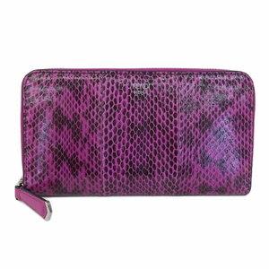 Real Fendi Leather X Python Round Zipper Long Purse Pink