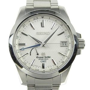 Genuine Seiko Grand Spring Drive Power Reserve Gmt Men's Wrist Watch 9r66-0ae0 / Sbge009