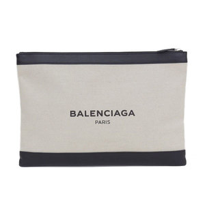 Balenciaga Canvas,Leather Clutch Bag Black,Ivory