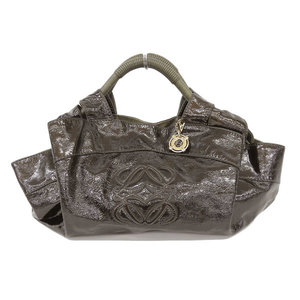 Loewe Loewe Nappa Aire Hand Bag Patent Leather Brown Khaki * Bg