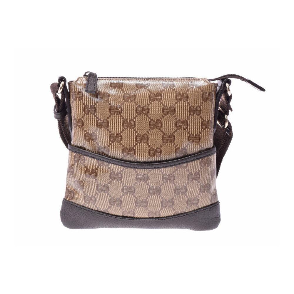 de58e260042 Used Gucci Shoulder Bag Gg Crystal   Calf Pattern Beige Type Dark Brown  Outlet New ◇