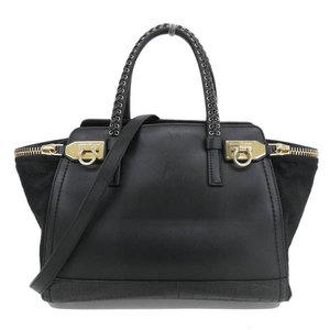 Salvatore Ferragamo Ferragamo Arianna Verve 2 Way Handbag Shoulder Bag Black Gold Hardware Calf Leather Harako Style 21e 955