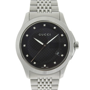Gucci G Timeless Mens Quartz Wrist Watch Black Letterboard Ya126405