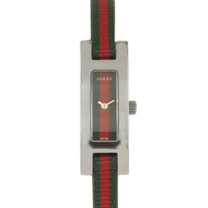 Gucci Web Line Slim Leather Belt Wrist Watch For Ladies Quartz 3900l Silver Green Red Shelly
