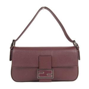 Fendi Baguette Calf Leather 2 Way Shoulder Bag Wine 8br 600