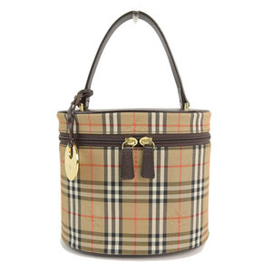 Burberry London Vintage Check Vanity Bag Handbag Beige