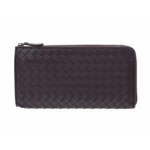 Used Bottega Veneta L-shaped Round Zipper Long Wallet Intrecciato Leather  Black Box Men s Ladies 99a922e4cf023