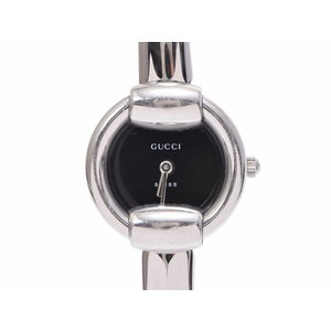 Used Gucci 1400 L Ss Black Letterboard Quartz Ladies Watch ◇