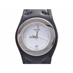 Used Hermes Arne Ha 3.210 Ss / Leather White Dial Board Quartz Wristwatch Gala Men's Women's