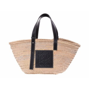 Used Loewe Basket Large Straw Natural / Black ◇
