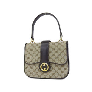 Gucci Old Gg Canvas Handbag Shoulder Vintage × Leather Brown [20180831]