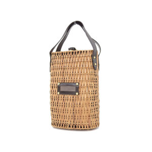 Fendi Basket Bag Handbag Cage Zuccha Pattern Rattan Leather Brown Used [20180913]