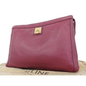 Celine Vintage Leather Clutch Bag Second Red Type Bordeaux Hand [20180914]