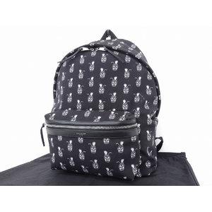Saint Laurent Canvas Skull Pineapple Backpack Rucksack Black White [20180406]