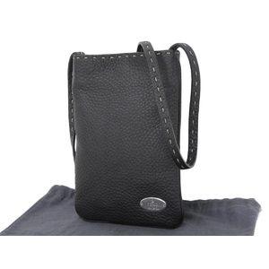 Fendi Logo Plate Celia Stitch Leather Pochette Shoulder Bag Black Used [20180913]