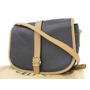 ab7815aee1 Celine Vintage Leather Pochette Shoulder Bag Black Brown Used  20180914