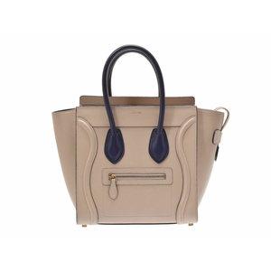 6cdecf3034370 Second-hand Celine Luggage Micro Shopper Leather Beige   Navy Handbag ◇