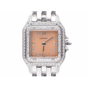 中古 カルティエ パンテールSM WG 2重ダイヤベゼル 箱 修理明細 電池式 レディース 腕時計 CARTIER◇