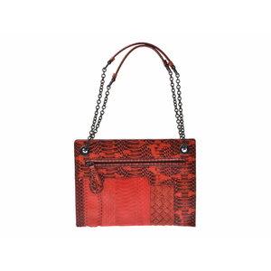 Used Bottega Veneta Chain Shoulder Bag Python Red Unused ◇ d21393b7460b9