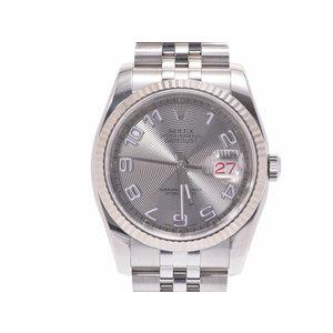 中古 ロレックス デイトジャスト116234 WG/SS D番 シルバーアラビアコンセントリック文字盤 箱 自動巻 メンズ 腕時計 ROLEX◇