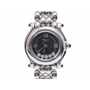 Used Chopard Happy Sports Ss 5p Diamond Black Case Quartz Ladies Watch ◇