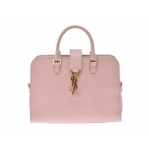 Used Saint Laurent Baby Cabas Pink Beige Leather 2 Way With Bag Strap ◇