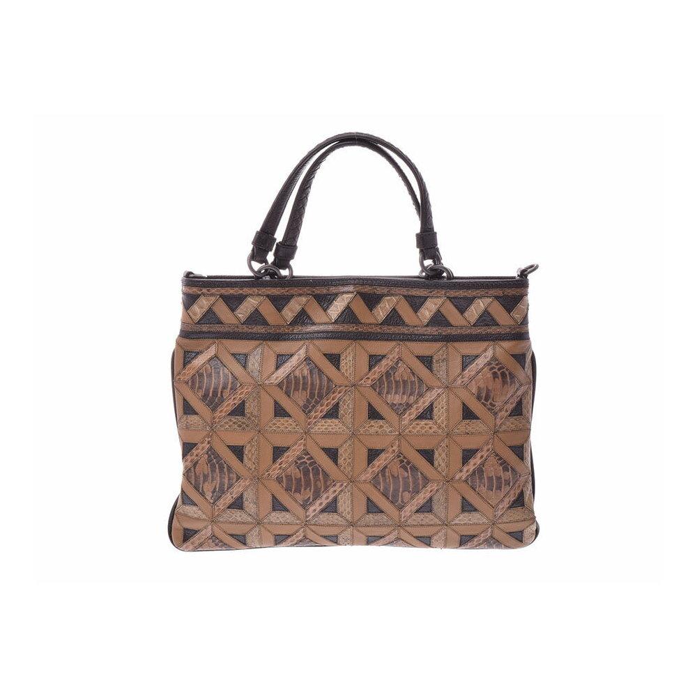 Used Bottega Veneta 2 Way Handbag Tea Leather With Python Strap Unused ◇ 08aca278014c0