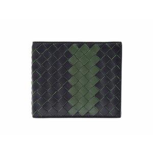 Used Bottega Veneta Folded Wallet Intrecciato Calf Black   Green Box Men s  Unused ◇ b670ff2818de8