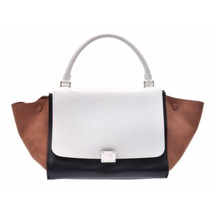 e14a96295401 Used Celine Trapes Calf   Suede Tricolor White Black Brown Direct Shop Card  2 Way Bag