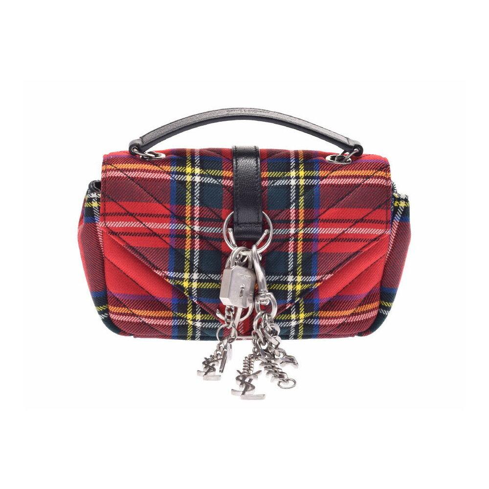 Second-hand Saint Laurent Baby Punk Chain Shoulder Bag Canvas Red Tartan  Check ◇ 6982c79100ddd
