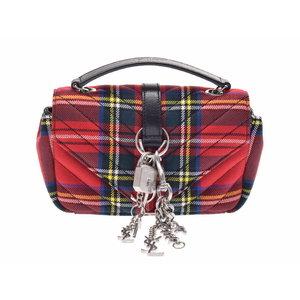 Second-hand Saint Laurent Baby Punk Chain Shoulder Bag Canvas Red Tartan Check ◇