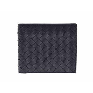 Used Bottega Veneta Folded Wallet Intrecciato Leather Mens Black ◇ 92883c3968652