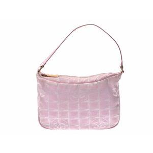 シャネル(Chanel) 中古 シャネル ニュートラベルライン セミショルダーバッグ ナイロン ピンク 箱 CHANEL◇