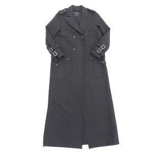 Genuine Chanel Women's Coco Mark Button Long Coat Black