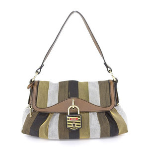 Genuine Fendi Canvas Striped Shoulder Bag 4 Color