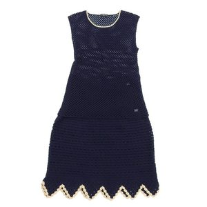 Genuine Chanel Sleeveless Tops Knit Skirt Set Cashmere Mixed Navy Size 36