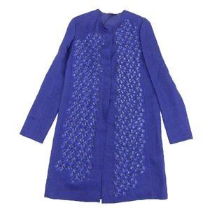 Genuine Fendi Ladies No Color Coat Geometric Pattern Silk Blue Size 40
