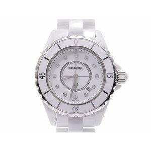 中古 シャネル J12 33mm 白セラミック 12Pダイヤ クオーツ 腕時計 メンズ レディース CHANEL◇