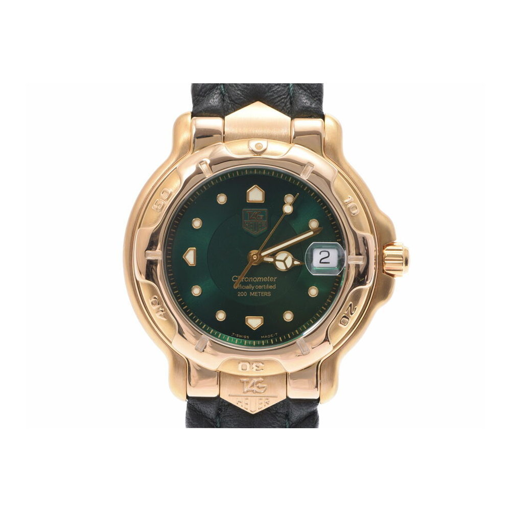 Used Tag Heuer 6000 Series Chronometer Wh 514 Yg / Leather Green Dial Automatic Watch Wrist Men's ◇