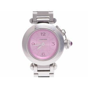 中古 カルティエ ミスパシャ 1st Anniversary SS ピンク文字盤 W3140023 クオーツ 腕時計 レディース CARTIER◇