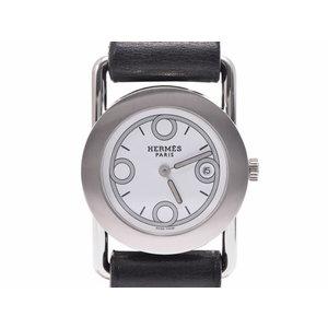 中古 エルメス バレニアロンド BR1.210 SS/革 白文字盤 クオーツ レディース 腕時計 HERMES◇