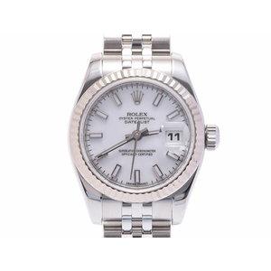 中古 ロレックス デイトジャスト179174 WG SS Z番 白文字盤 箱 自動巻 レディース 腕時計 ROLEX◇