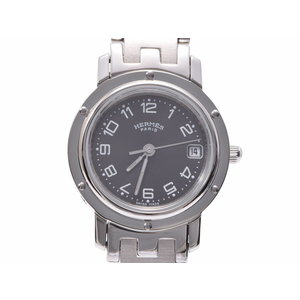Used Hermès Clipper CL 4.210 SS Black letterboard Quartz watch Ladies HERMES ◇