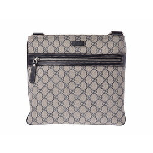 Used Gucci shoulder bag GG Supreme PVC black ivory GUCCI ◇